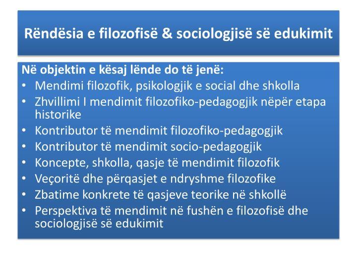 R nd sia e filozofis sociologjis s edukimit