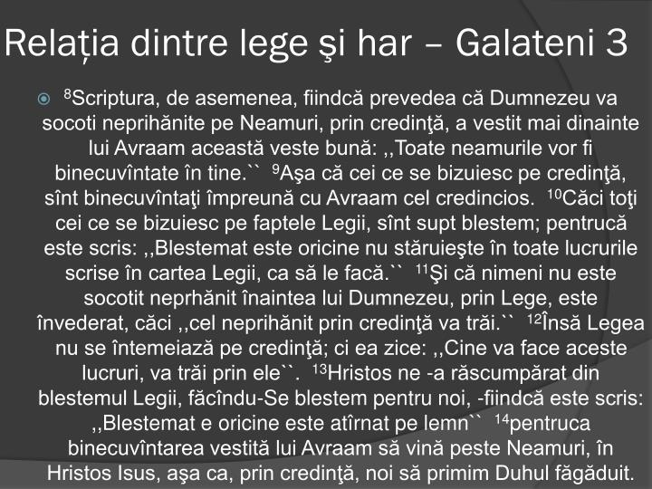 Relaţia dintre lege şi har – Galateni 3