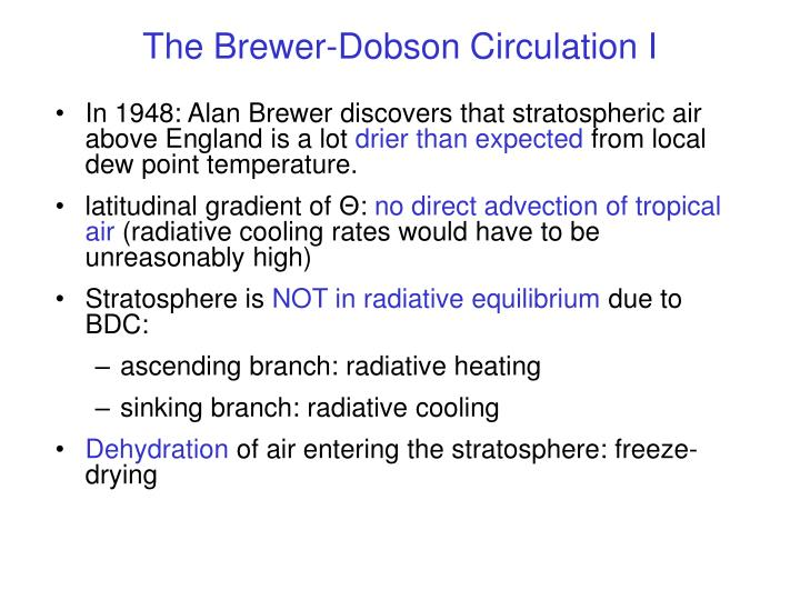 The Brewer-Dobson Circulation I