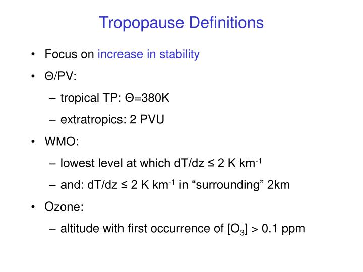 Tropopause Definitions