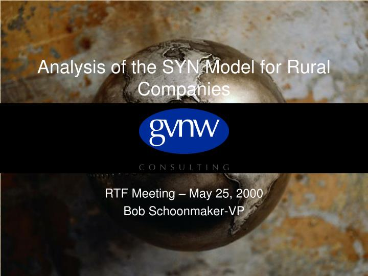 analysis of the syn model for rural companies n.