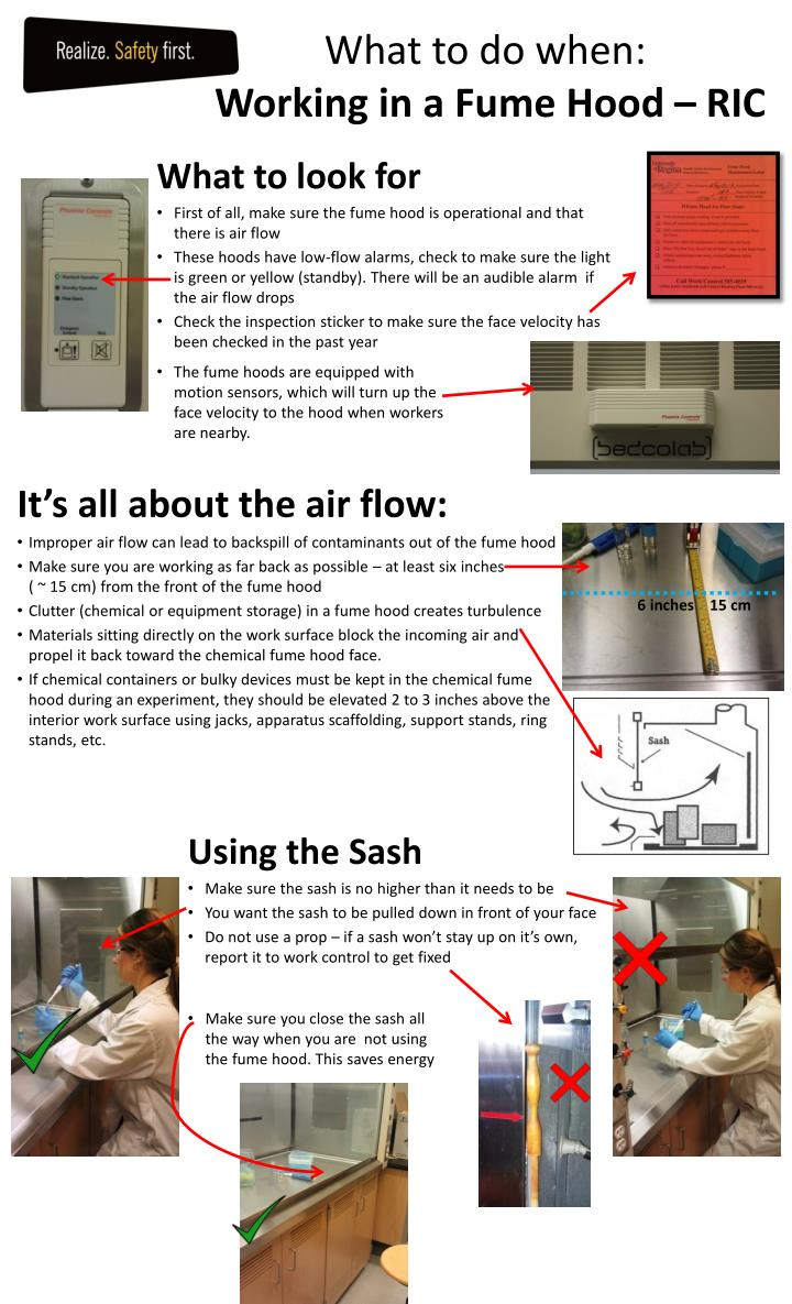What to do when working in a fume hood ric