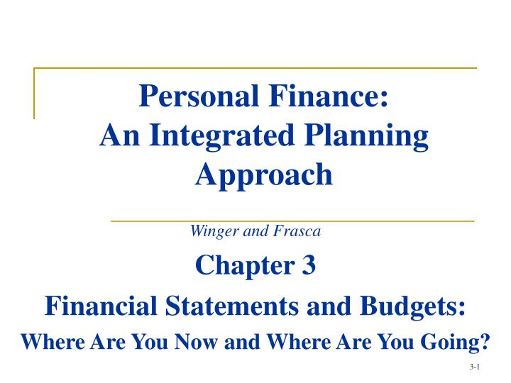 personal finance an integrated planning approach n.