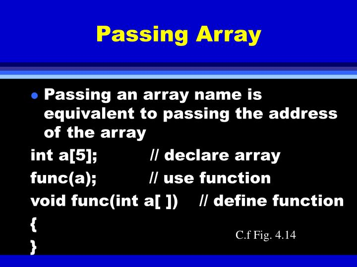 Passing Array