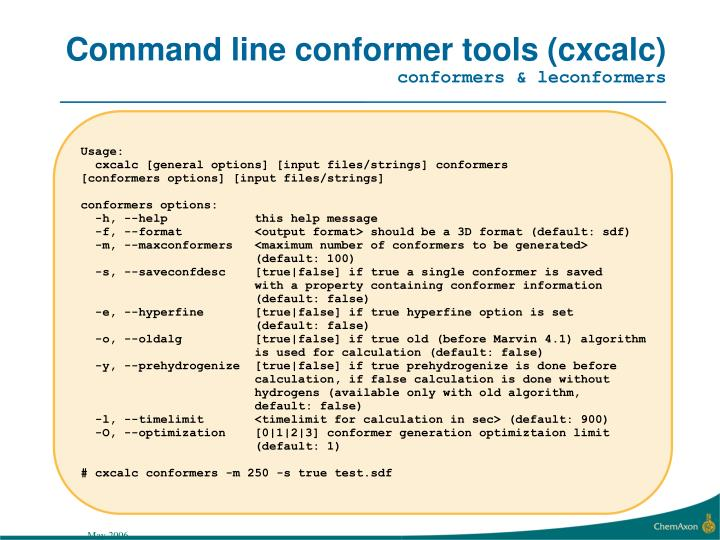Command line conformer tools (cxcalc)
