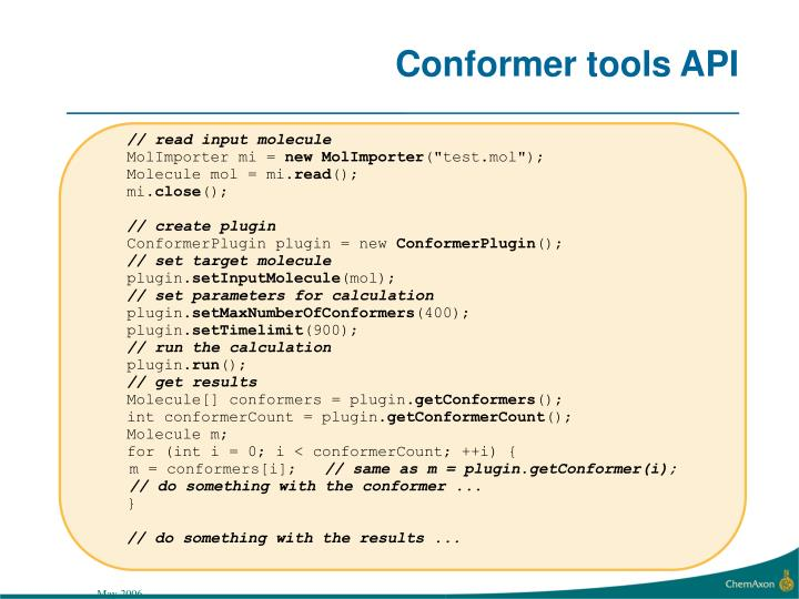 Conformer tools API
