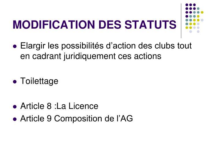 MODIFICATION DES STATUTS