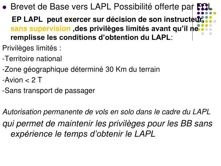 Brevet de Base vers LAPL Possibilité offerte par FCL