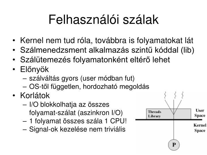 Felhasználói szálak