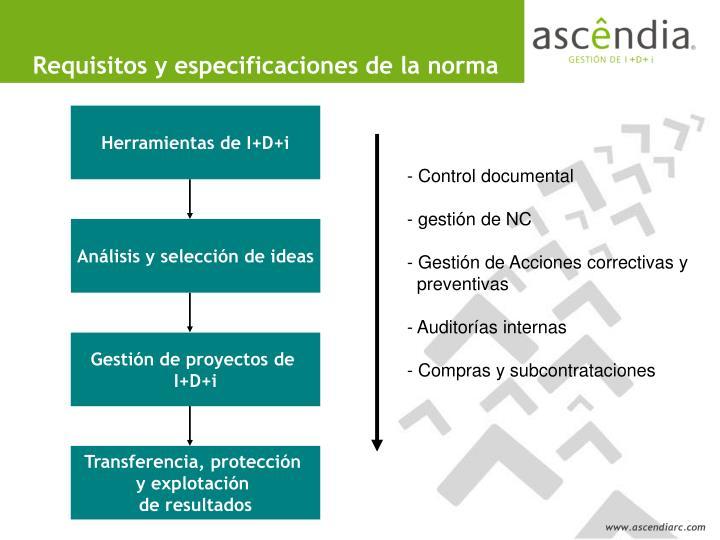 Requisitos y especificaciones de la norma
