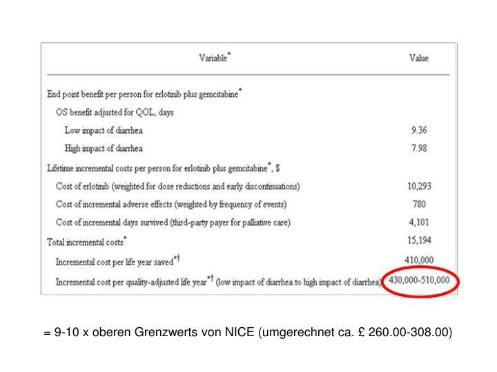 = 9-10 x oberen Grenzwerts von NICE (umgerechnet ca. £ 260.00-308.00)