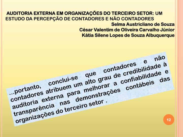 AUDITORIA EXTERNA EM ORGANIZAÇÕES DO TERCEIRO SETOR: