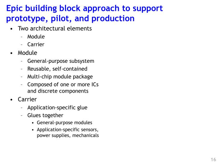 Epic building block approach to support