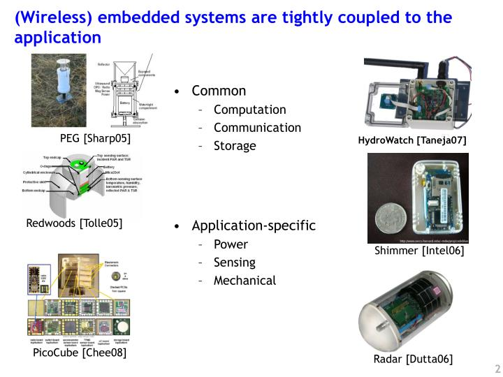 Wireless embedded systems are tightly coupled to the application