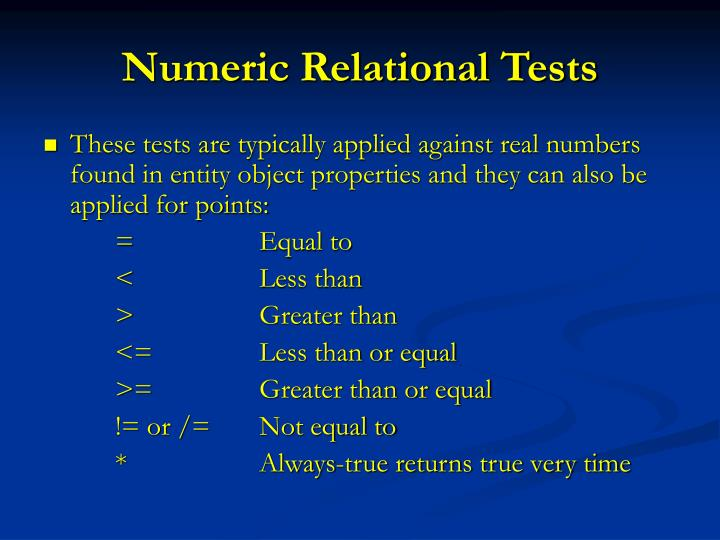 Numeric Relational Tests