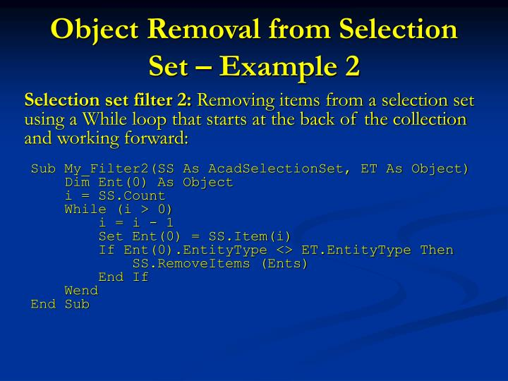 Object Removal from Selection Set – Example 2