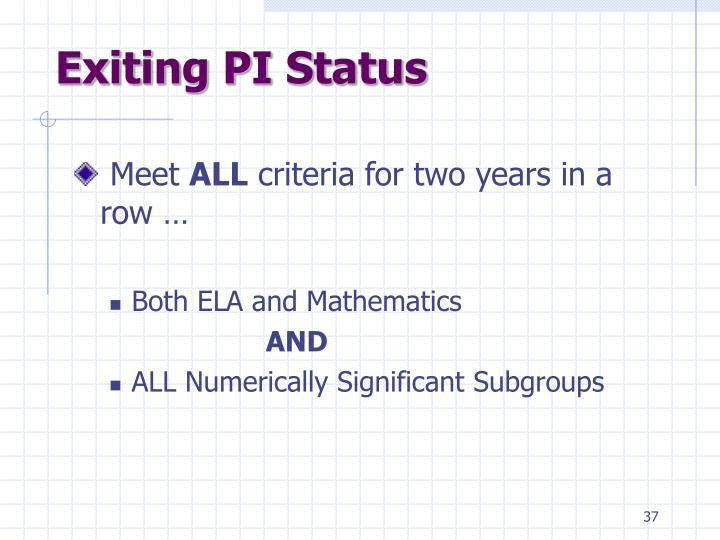 Exiting PI Status