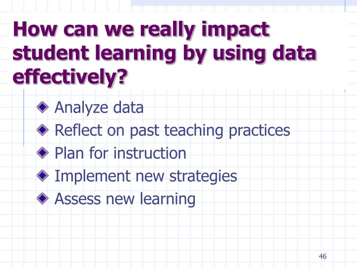 How can we really impact student learning by using data effectively?