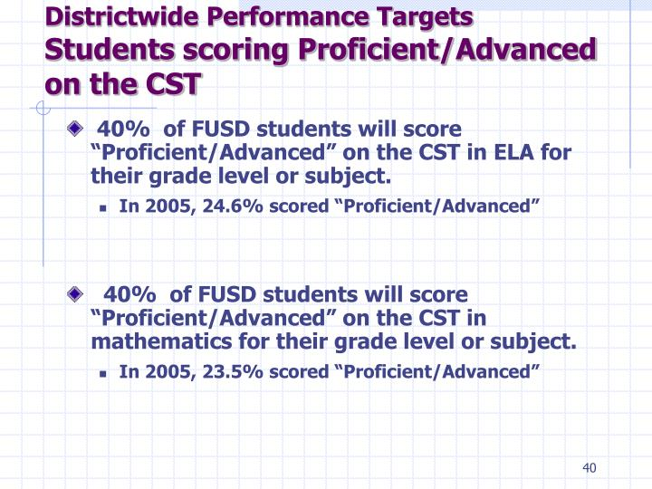 Districtwide Performance Targets