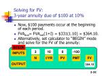 solving for fv 3 year annuity due of 100 at 10
