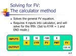 solving for fv the calculator method