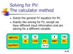 solving for pv the calculator method