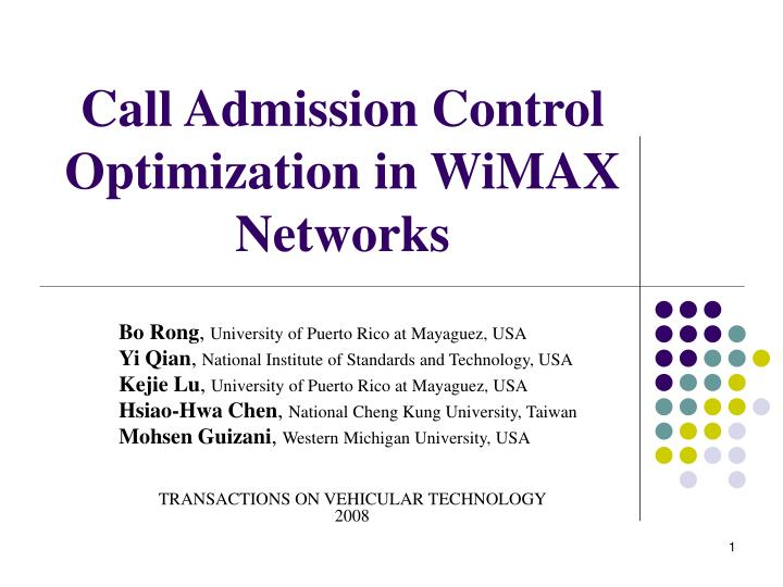 call admission control optimization in wimax networks n.
