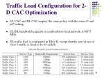 traffic load configuration for 2 d cac optimization