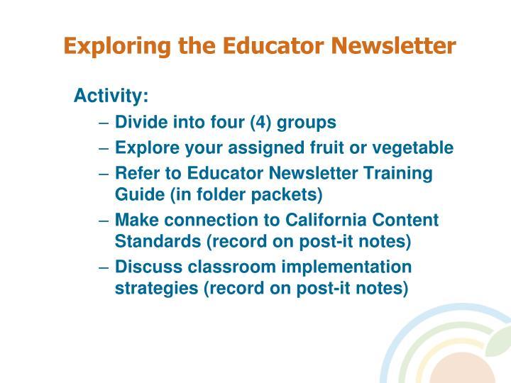 Exploring the Educator Newsletter