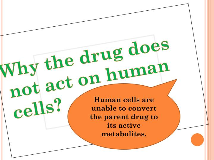 Why the drug does not act on human cells?
