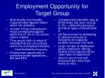 employment opportunity for target group
