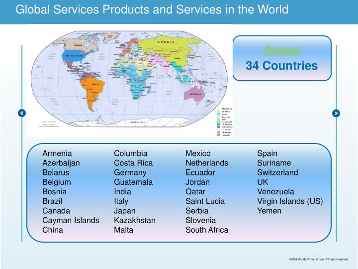 Global Services Products and Services in the World