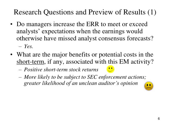 Research Questions and Preview of Results (1)