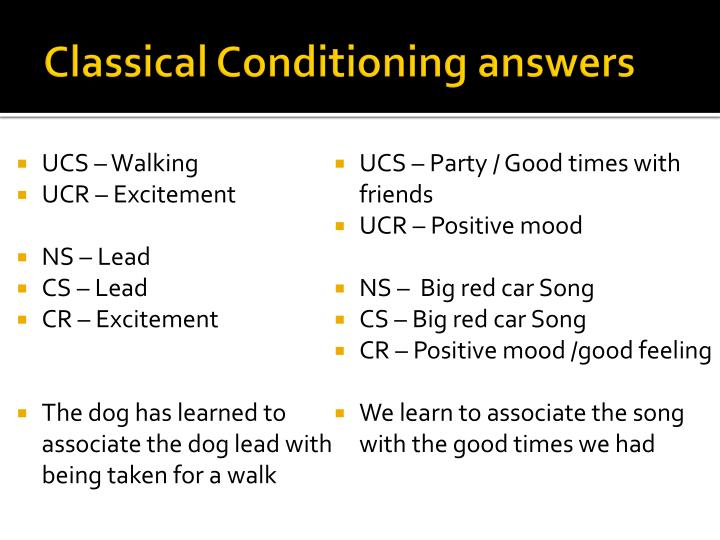 classical conditioning and answer selected answer
