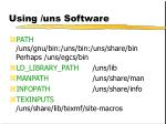using uns software
