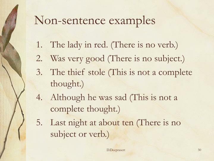 Non-sentence examples