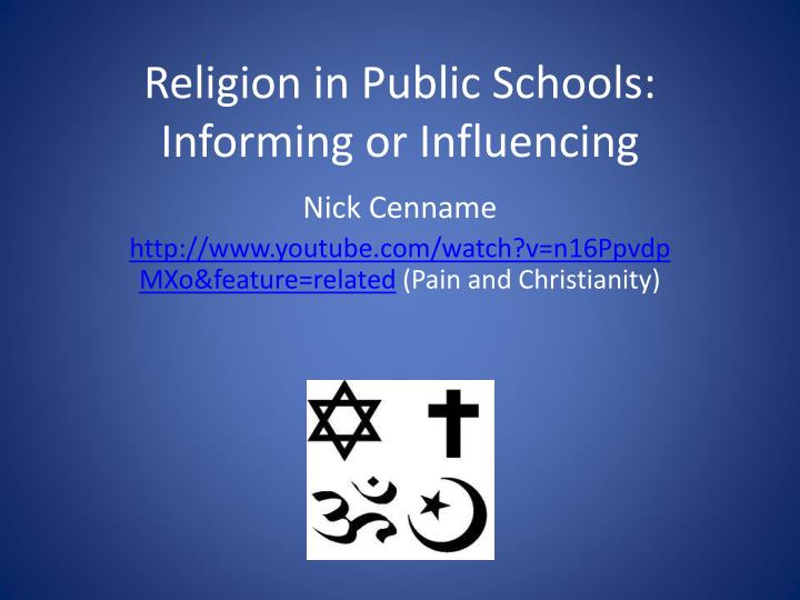 religion in public schools Religion in schools public schools must protect students from discrimination and harassment on the basis of religion—including a student's religious background, beliefs, dress, and expression religion and creed are protected classes under washington law.