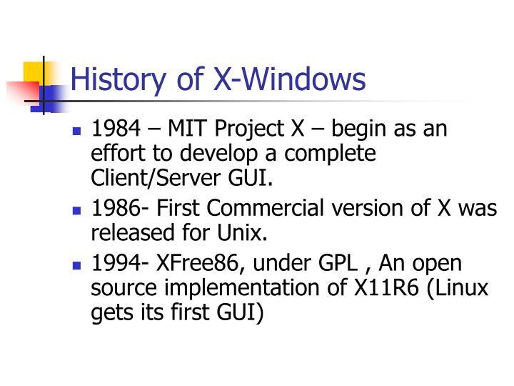 History of x windows