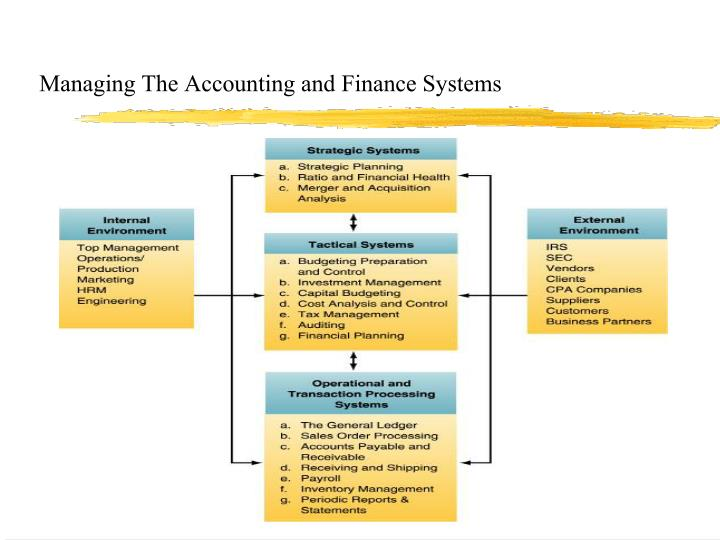 Managing The Accounting and Finance Systems