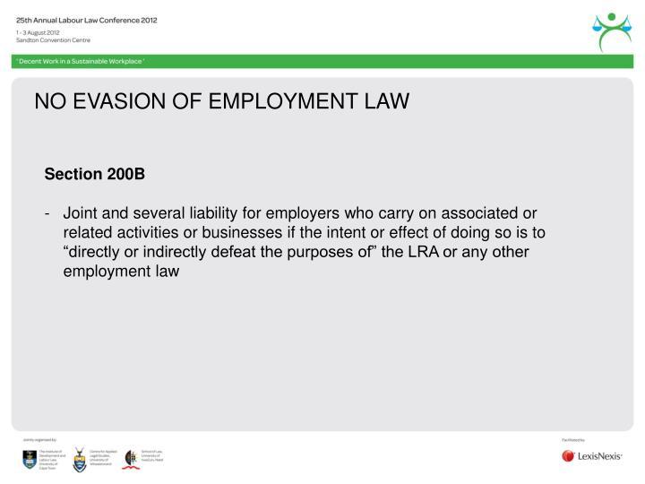 NO EVASION OF EMPLOYMENT LAW