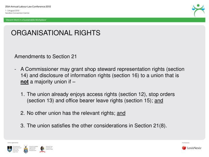 ORGANISATIONAL RIGHTS