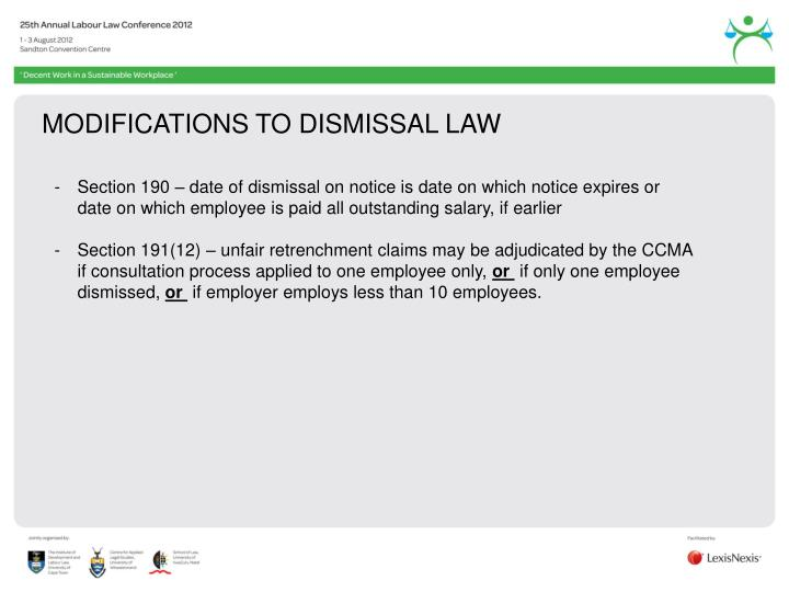 MODIFICATIONS TO DISMISSAL LAW