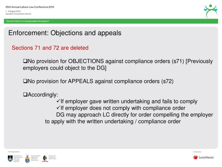 Enforcement: Objections and appeals