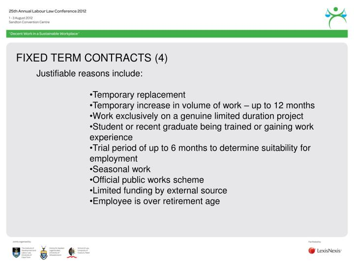 FIXED TERM CONTRACTS (4)