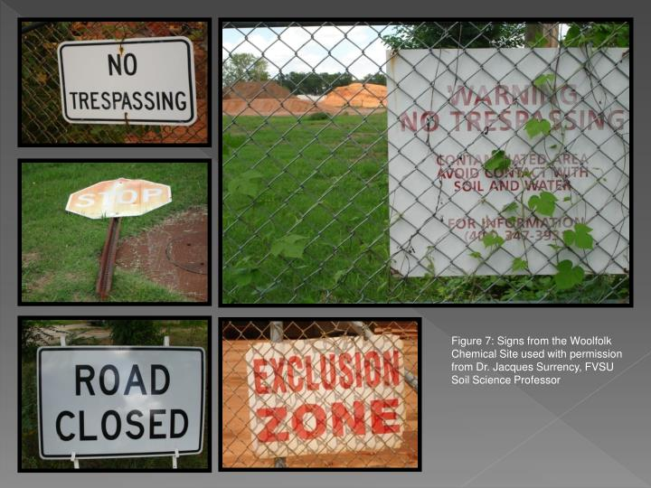 Figure 7: Signs from the Woolfolk Chemical Site used with permission from Dr. Jacques Surrency, FVSU Soil Science Professor