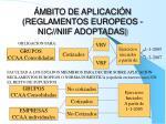 mbito de aplicaci n reglamentos europeos nic niif adoptadas