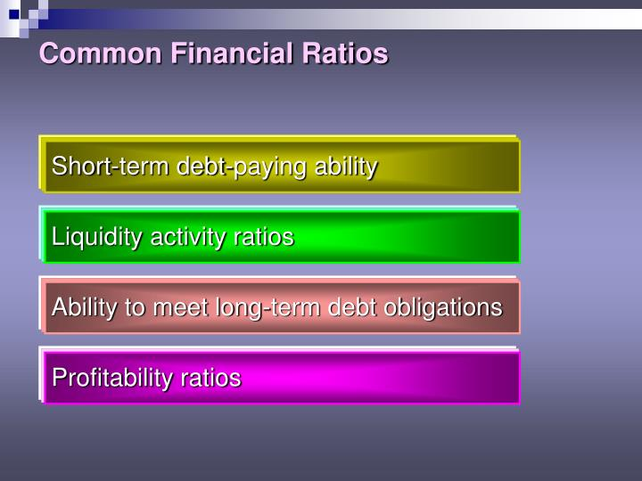 common financial ratios common financial ratios Liquidity ratios analyze the ability of a company to pay off both its current and long-term here are the most common liquidity ratios quick financial ratios.