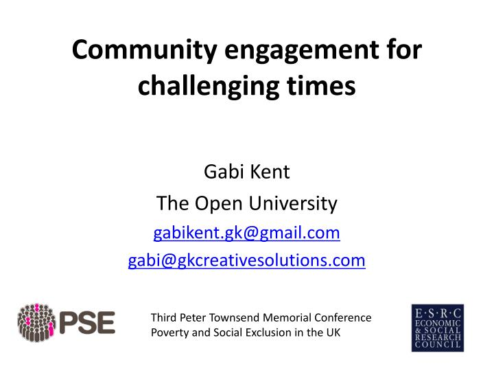 community engagement for challenging times n.
