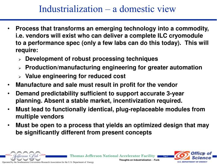 Industrialization a domestic view