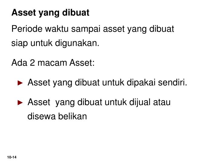 Asset yang dibuat